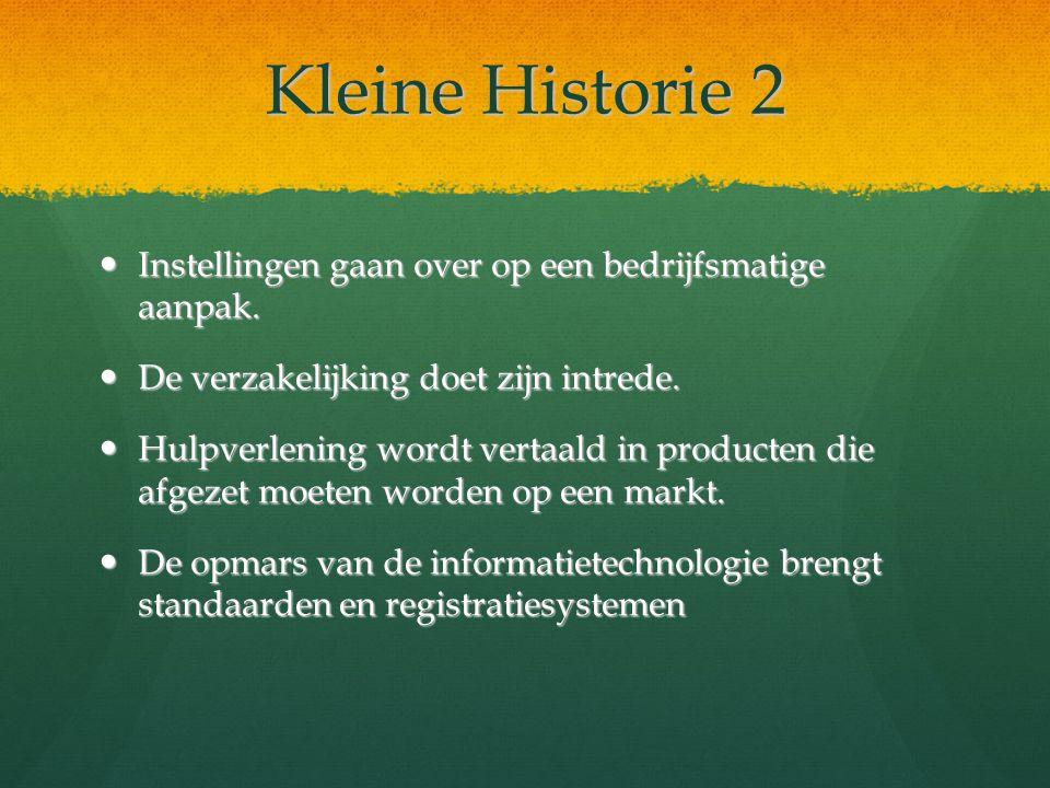 Kleine Historie 2 Instellingen gaan over op een bedrijfsmatige aanpak. Instellingen gaan over op een bedrijfsmatige aanpak. De verzakelijking doet zij