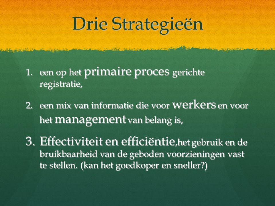 Drie Strategieën 1.een op het primaire proces gerichte registratie, 2.een mix van informatie die voor werkers en voor het management van belang is, 3.