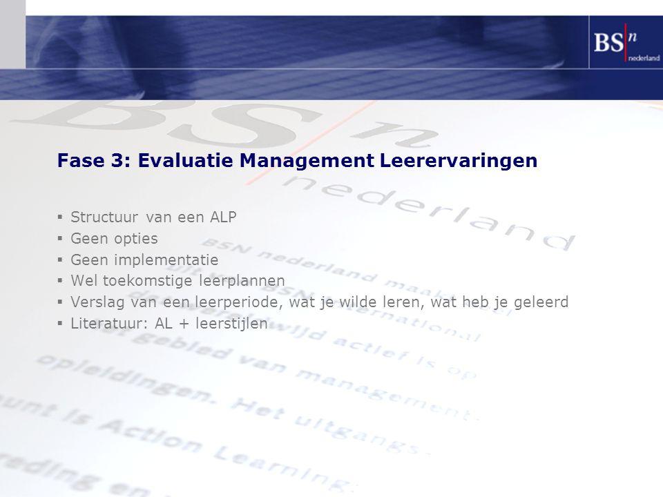 Fase 3: Evaluatie Management Leerervaringen  Structuur van een ALP  Geen opties  Geen implementatie  Wel toekomstige leerplannen  Verslag van een leerperiode, wat je wilde leren, wat heb je geleerd  Literatuur: AL + leerstijlen