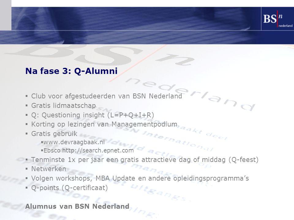 Na fase 3: Q-Alumni  Club voor afgestudeerden van BSN Nederland  Gratis lidmaatschap  Q: Questioning insight (L=P+Q+I+R)  Korting op lezingen van Managementpodium  Gratis gebruik  www.devraagbaak.nl  Ebsco http://search.epnet.com  Tenminste 1x per jaar een gratis attractieve dag of middag (Q-feest)  Netwerken  Volgen workshops, MBA Update en andere opleidingsprogramma's  Q-points (Q-certificaat) Alumnus van BSN Nederland