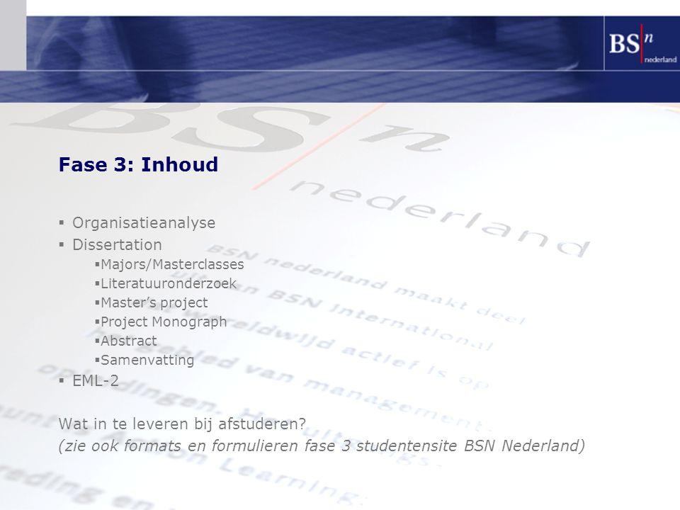 Fase 3: Inhoud  Organisatieanalyse  Dissertation  Majors/Masterclasses  Literatuuronderzoek  Master's project  Project Monograph  Abstract  Samenvatting  EML-2 Wat in te leveren bij afstuderen.