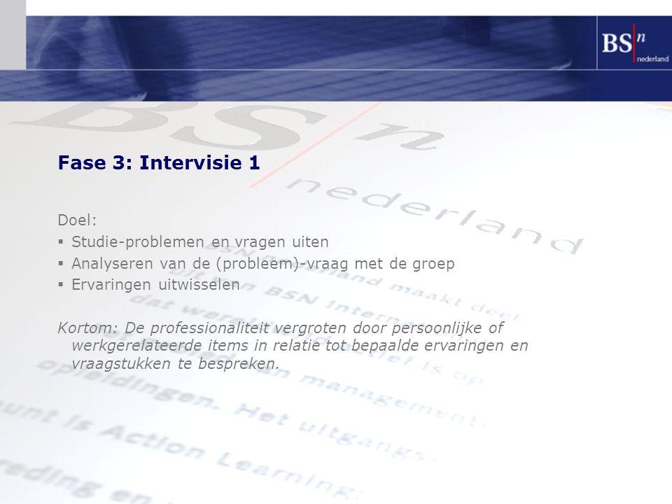 Fase 3: Intervisie 1 Doel:  Studie-problemen en vragen uiten  Analyseren van de (probleem)-vraag met de groep  Ervaringen uitwisselen Kortom: De pr