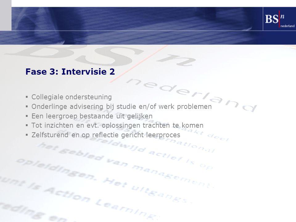 Fase 3: Intervisie 2  Collegiale ondersteuning  Onderlinge advisering bij studie en/of werk problemen  Een leergroep bestaande uit gelijken  Tot inzichten en evt.