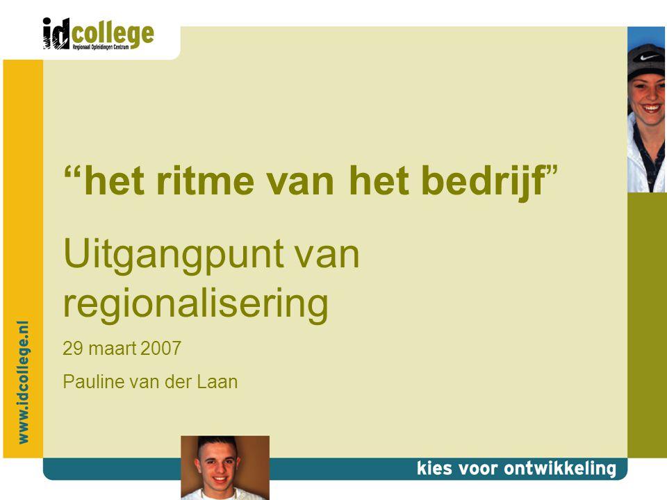 het ritme van het bedrijf Uitgangpunt van regionalisering 29 maart 2007 Pauline van der Laan