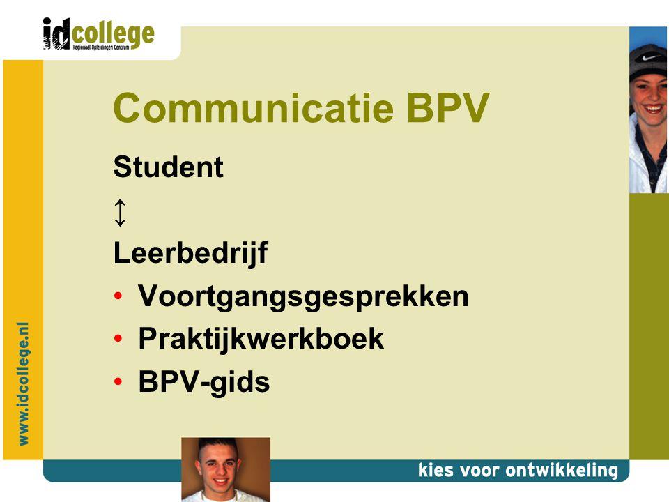 Communicatie BPV Onderwijs ↕ Leerbedrijf Studenten functioneren Onderwijs Relatiebeheer