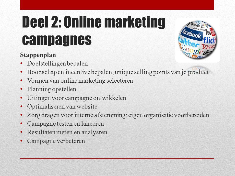 Deel 2: Online marketing campagnes Stappenplan Doelstellingen bepalen Boodschap en incentive bepalen; unique selling points van je product Vormen van