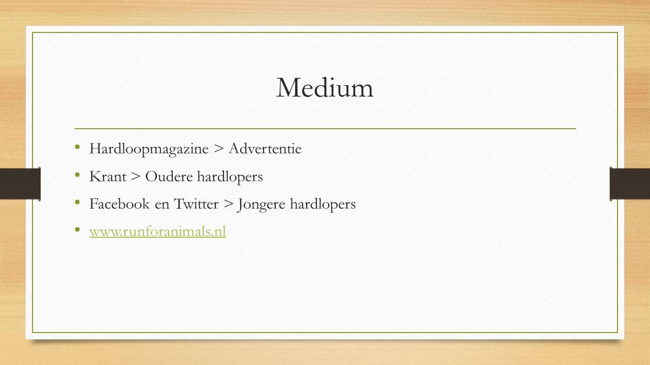 Medium Hardloopmagazine > Advertentie Krant > Oudere hardlopers Facebook en Twitter > Jongere hardlopers www.runforanimals.nl