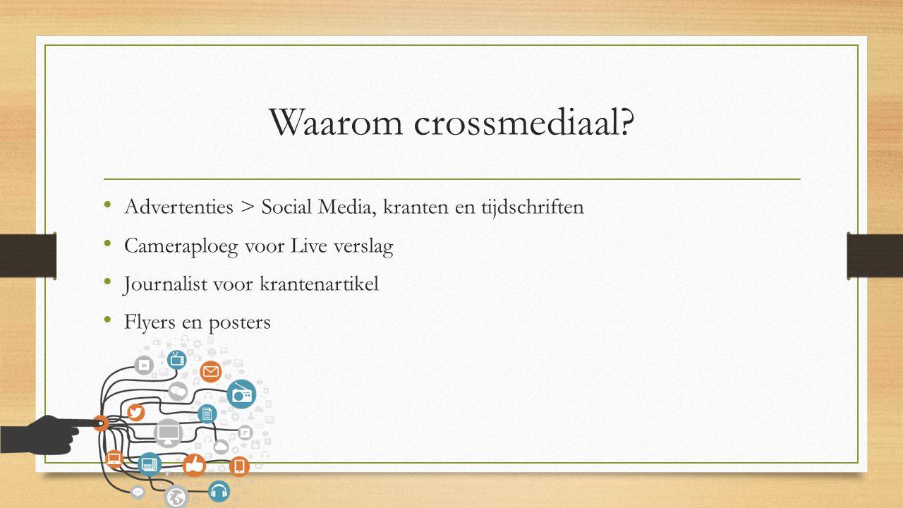 Waarom crossmediaal? Advertenties > Social Media, kranten en tijdschriften Cameraploeg voor Live verslag Journalist voor krantenartikel Flyers en post