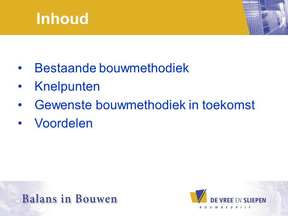 Bestaande bouwmethodiek Bouwinitiatief Ontwerp / budget Bouwaanvraag Aanbesteding Uitvoering Eindproduct