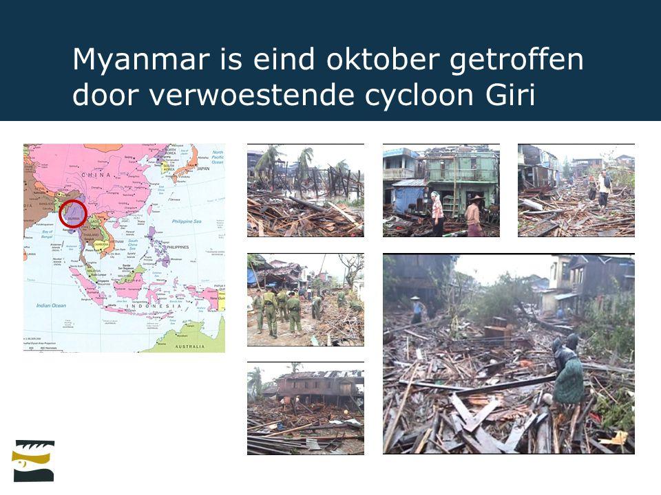 Myanmar is eind oktober getroffen door verwoestende cycloon Giri