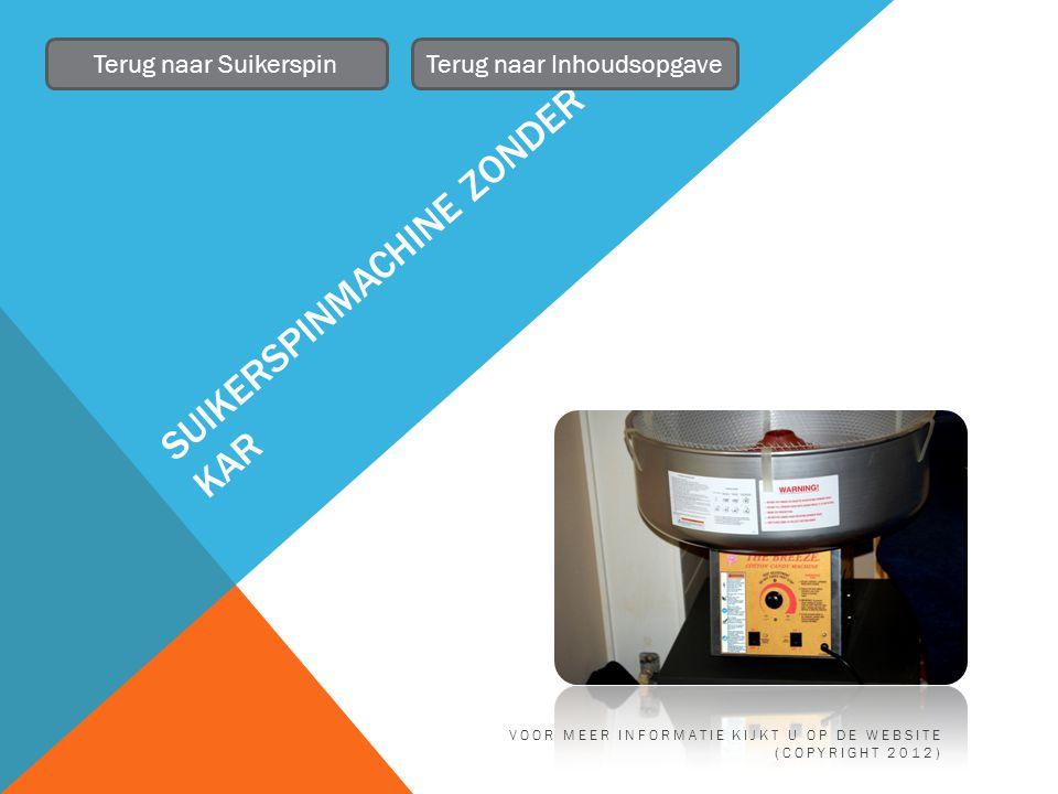 SUIKERSPINMACHINE ZONDER KAR Terug naar SuikerspinTerug naar Inhoudsopgave VOOR MEER INFORMATIE KIJKT U OP DE WEBSITE (COPYRIGHT 2012)