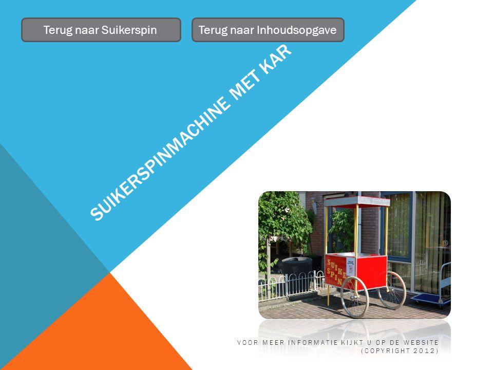 SUIKERSPINMACHINE MET KAR Terug naar SuikerspinTerug naar Inhoudsopgave VOOR MEER INFORMATIE KIJKT U OP DE WEBSITE (COPYRIGHT 2012)