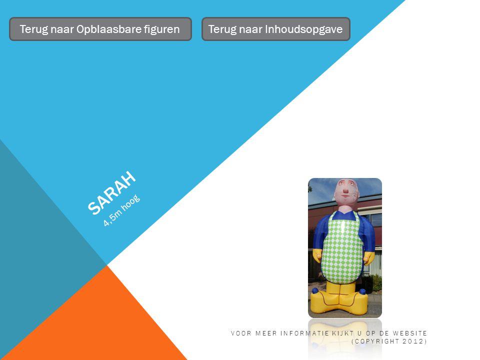 SARAH 4,5m hoog Terug naar Opblaasbare figurenTerug naar Inhoudsopgave VOOR MEER INFORMATIE KIJKT U OP DE WEBSITE (COPYRIGHT 2012)