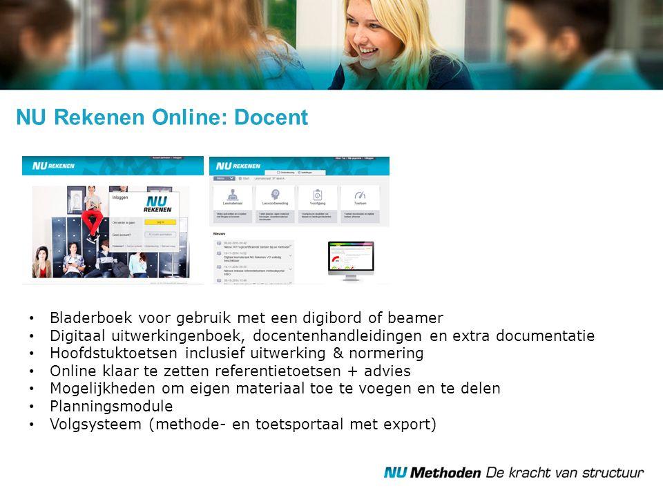 NU Rekenen Online: Docent Bladerboek voor gebruik met een digibord of beamer Digitaal uitwerkingenboek, docentenhandleidingen en extra documentatie Ho