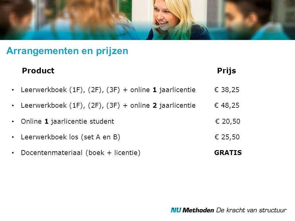 Arrangementen en prijzen Product Prijs Leerwerkboek (1F), (2F), (3F) + online 1 jaarlicentie € 38,25 Leerwerkboek (1F), (2F), (3F) + online 2 jaarlice