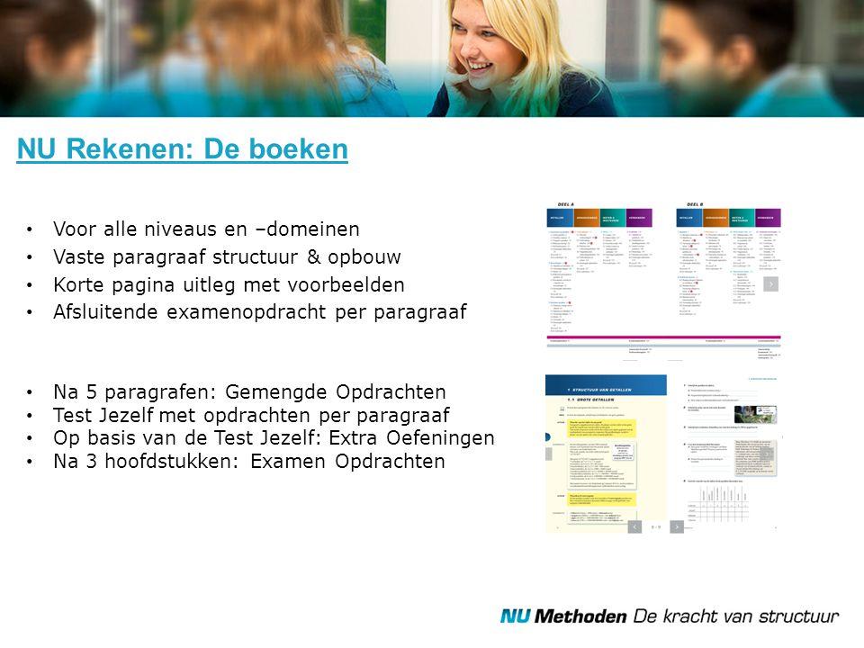 NU Rekenen: Online Leerling- en een docentendeel In plaats van, ter aanvulling op óf ter afwisseling Digitaal leren, oefenen en toetsen Differentiatie.