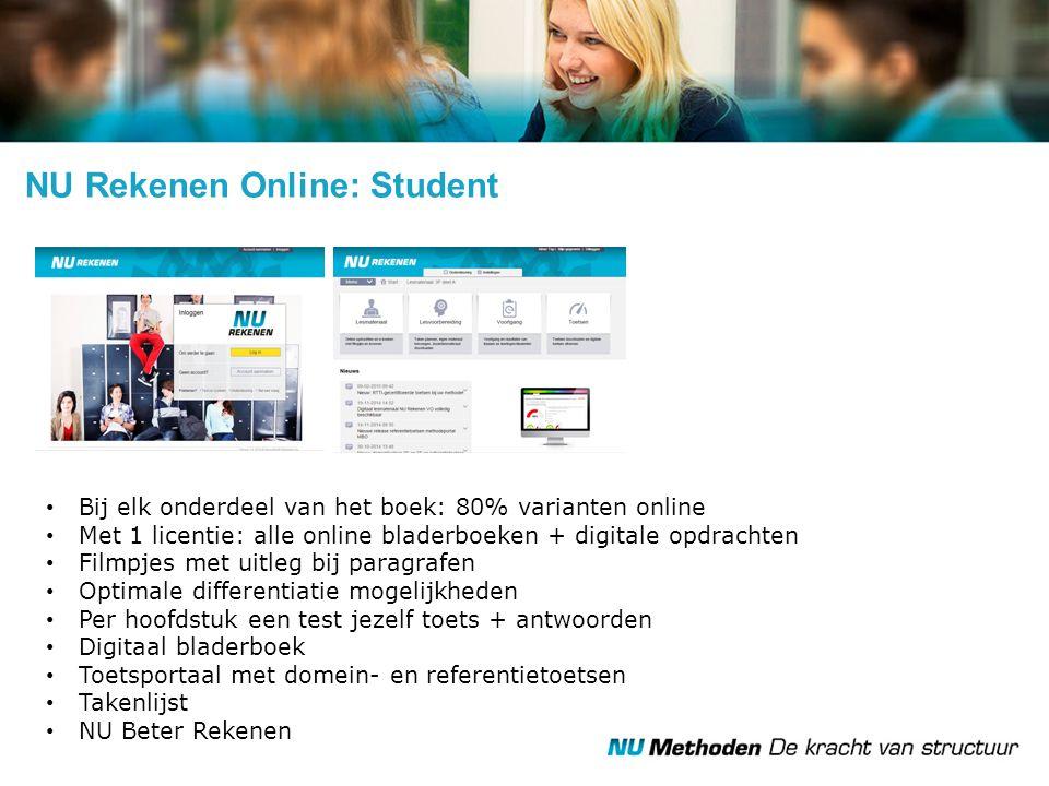 NU Rekenen Online: Student Bij elk onderdeel van het boek: 80% varianten online Met 1 licentie: alle online bladerboeken + digitale opdrachten Filmpje