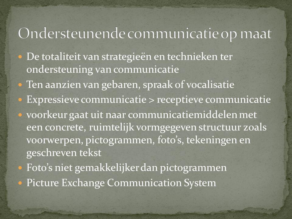 De totaliteit van strategieën en technieken ter ondersteuning van communicatie Ten aanzien van gebaren, spraak of vocalisatie Expressieve communicatie > receptieve communicatie voorkeur gaat uit naar communicatiemiddelen met een concrete, ruimtelijk vormgegeven structuur zoals voorwerpen, pictogrammen, foto's, tekeningen en geschreven tekst Foto's niet gemakkelijker dan pictogrammen Picture Exchange Communication System