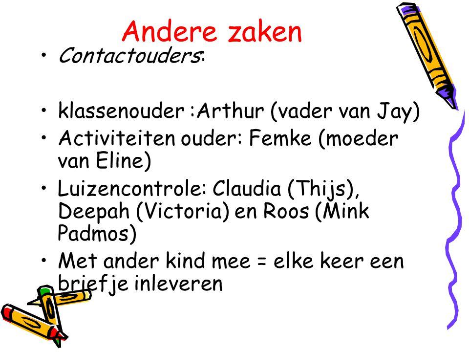 Andere zaken Contactouders: klassenouder :Arthur (vader van Jay) Activiteiten ouder: Femke (moeder van Eline) Luizencontrole: Claudia (Thijs), Deepah