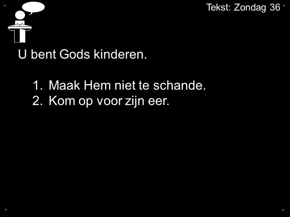 .... Tekst: Zondag 36 U bent Gods kinderen. 1.Maak Hem niet te schande. 2.Kom op voor zijn eer.