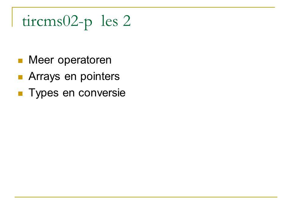 Meer operatoren s= s+i; is identiek aan s+=i; i=i+1; is identiek aan i++; (increment) j=j-1; is identiek aan i--; (decrement) eerst i gebruiken,daarna verhogen i=i+1; is identiek aan ++i; (increment) j=j-1; is identiek aan --i; (decrement) eerst i verhogen daarna i gebruiken