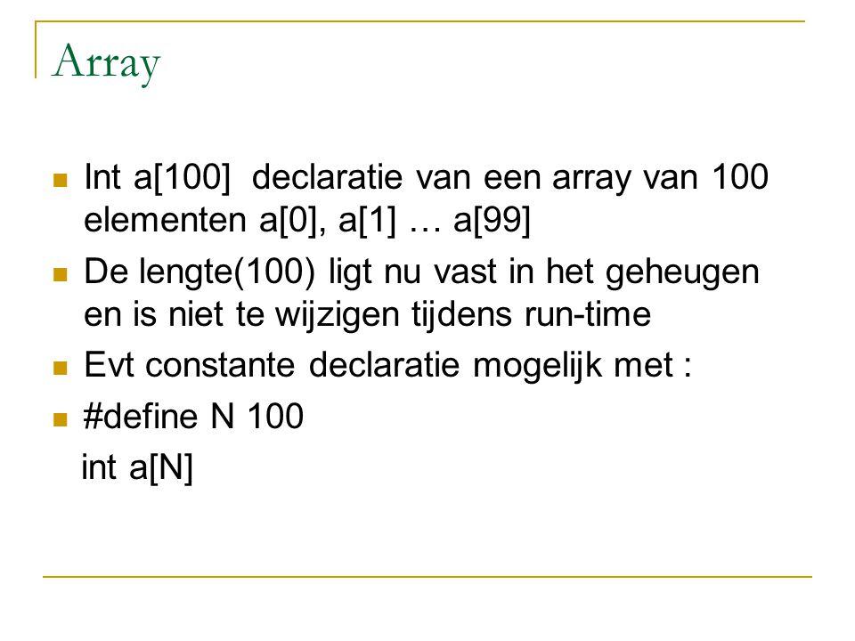 Array Int a[100] declaratie van een array van 100 elementen a[0], a[1] … a[99] De lengte(100) ligt nu vast in het geheugen en is niet te wijzigen tijd