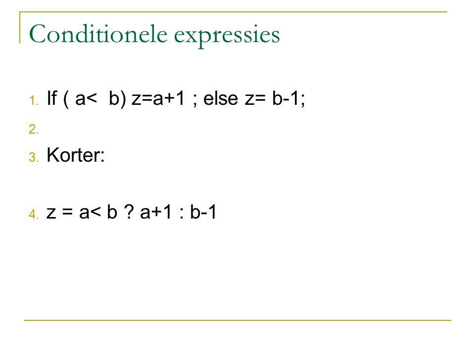 Pointers for (i=0 ; i < 10 ; i++ ) printf( %d , a[i]); is gelijk aan for (i=0 ; i < 10 ; i++ ) printf( %d , *(a+i)); Men kan een integer van een adres aftrekken Bijv: &a[9] – 3 ( = &a[6] = a+6 ) Ook &a[9] - &a[6] levert 3 op.