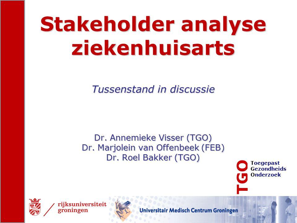 TGO Toegepast Gezondheids Onderzoek Stakeholder analyse ziekenhuisarts Tussenstand in discussie Dr. Annemieke Visser (TGO) Dr. Marjolein van Offenbeek