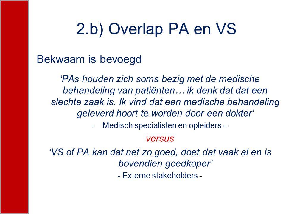 2.b) Overlap PA en VS Bekwaam is bevoegd 'PAs houden zich soms bezig met de medische behandeling van patiënten… ik denk dat dat een slechte zaak is. I