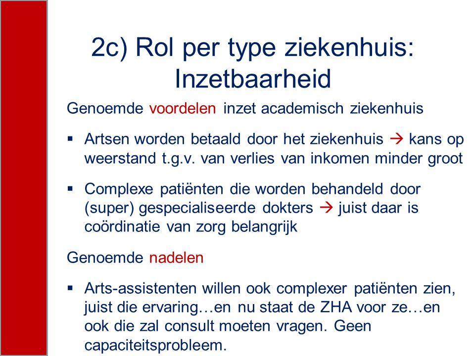 2c) Rol per type ziekenhuis: Inzetbaarheid Genoemde voordelen inzet academisch ziekenhuis  Artsen worden betaald door het ziekenhuis  kans op weerst