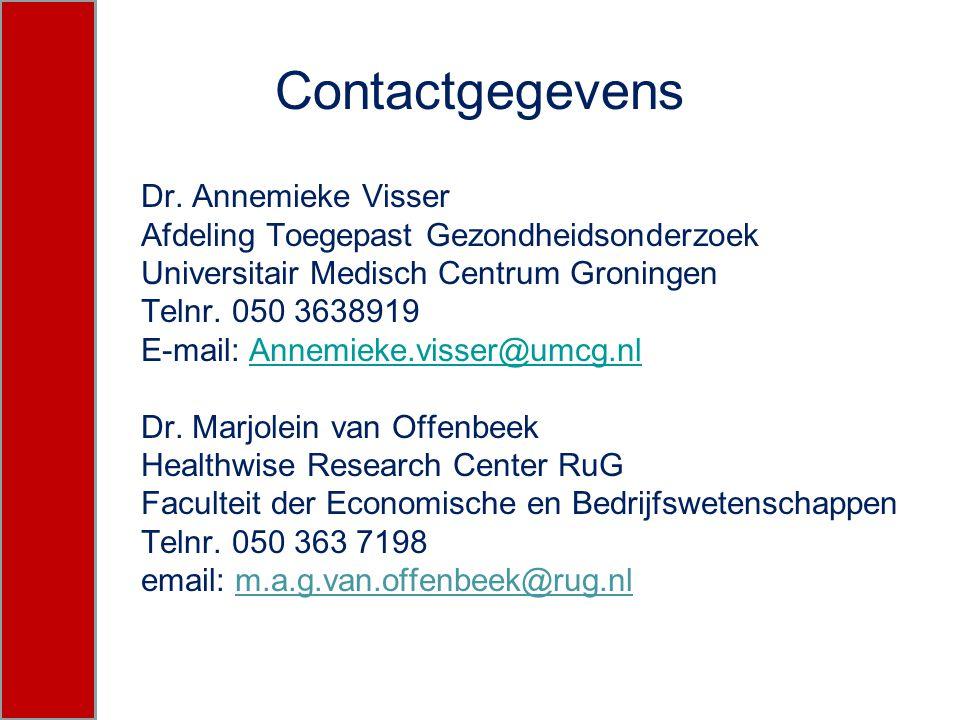 Contactgegevens Dr. Annemieke Visser Afdeling Toegepast Gezondheidsonderzoek Universitair Medisch Centrum Groningen Telnr. 050 3638919 E-mail: Annemie