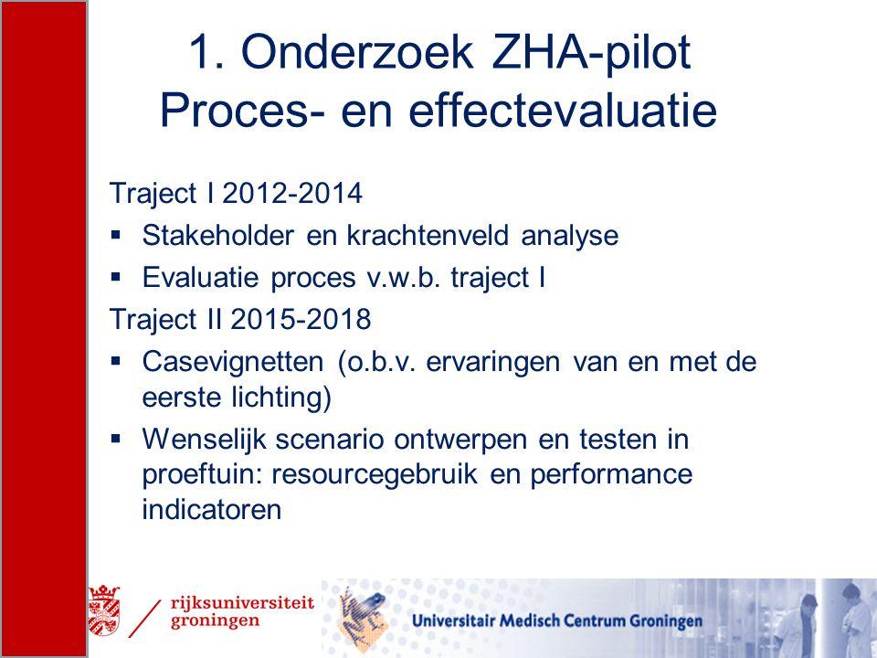 1. Onderzoek ZHA-pilot Proces- en effectevaluatie Traject I 2012-2014  Stakeholder en krachtenveld analyse  Evaluatie proces v.w.b. traject I Trajec