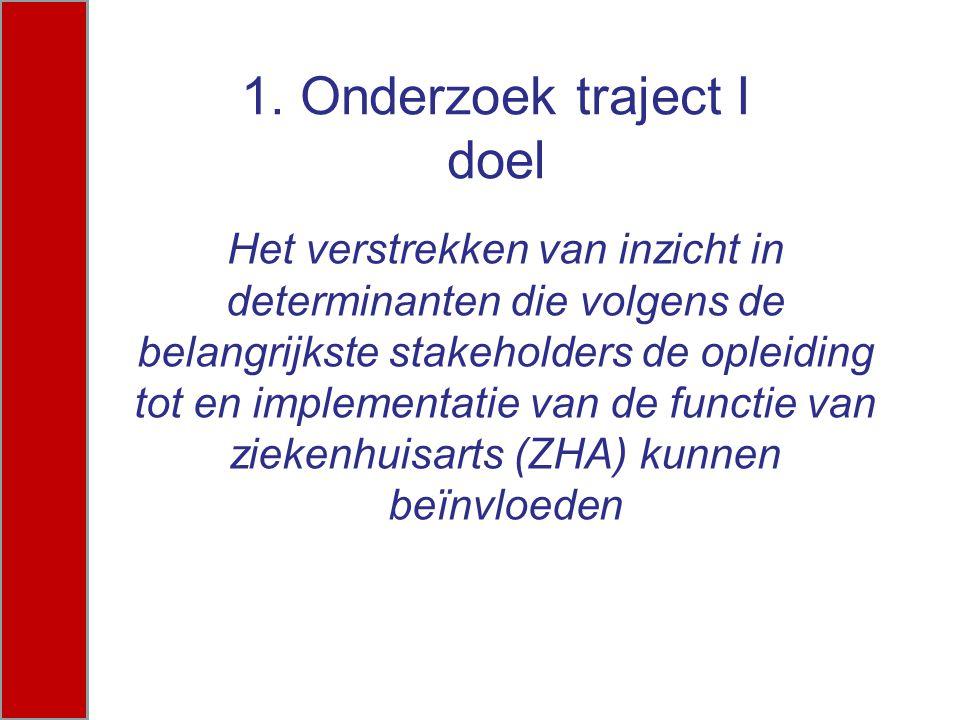1. Onderzoek traject I doel Het verstrekken van inzicht in determinanten die volgens de belangrijkste stakeholders de opleiding tot en implementatie v