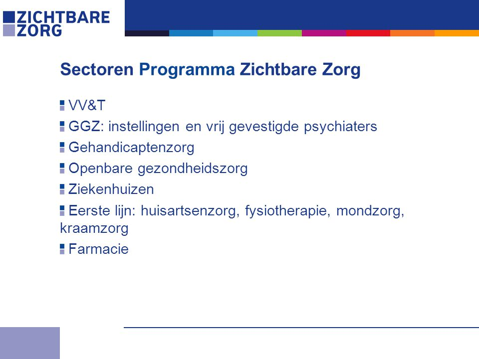 VV&T GGZ: instellingen en vrij gevestigde psychiaters Gehandicaptenzorg Openbare gezondheidszorg Ziekenhuizen Eerste lijn: huisartsenzorg, fysiotherapie, mondzorg, kraamzorg Farmacie Sectoren Programma Zichtbare Zorg