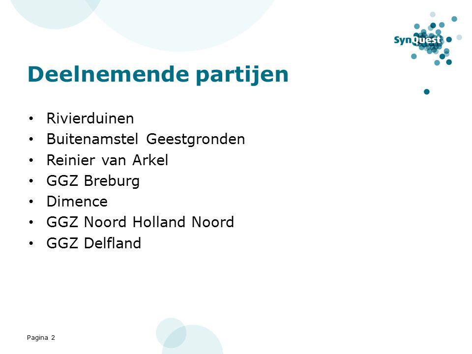 Pagina 2 Deelnemende partijen Rivierduinen Buitenamstel Geestgronden Reinier van Arkel GGZ Breburg Dimence GGZ Noord Holland Noord GGZ Delfland