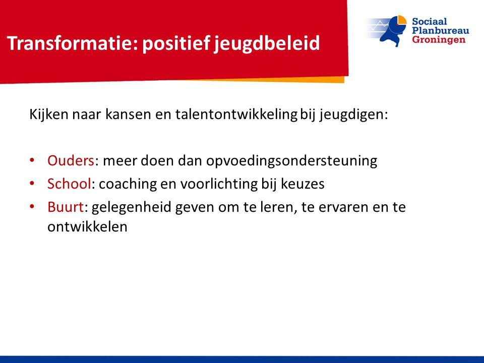Transformatie: positief jeugdbeleid Kijken naar kansen en talentontwikkeling bij jeugdigen: Ouders: meer doen dan opvoedingsondersteuning School: coac