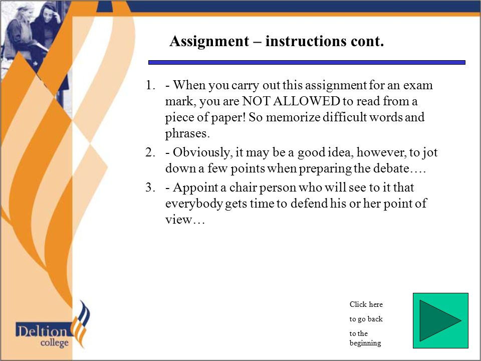 Assignment – instructions cont.