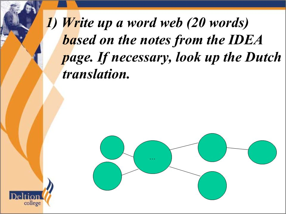 1) Write up a word web (20 words) based on the notes from the IDEA page. If necessary, look up the Dutch translation. …