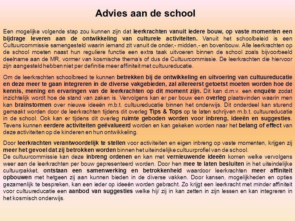 Advies aan de school Een mogelijke volgende stap zou kunnen zijn dat leerkrachten vanuit iedere bouw, op vaste momenten een bijdrage leveren aan de on