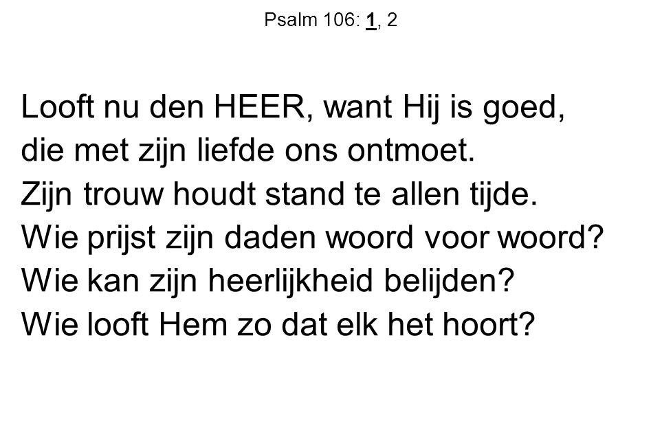 Psalm 106: 1, 2 Looft nu den HEER, want Hij is goed, die met zijn liefde ons ontmoet. Zijn trouw houdt stand te allen tijde. Wie prijst zijn daden woo