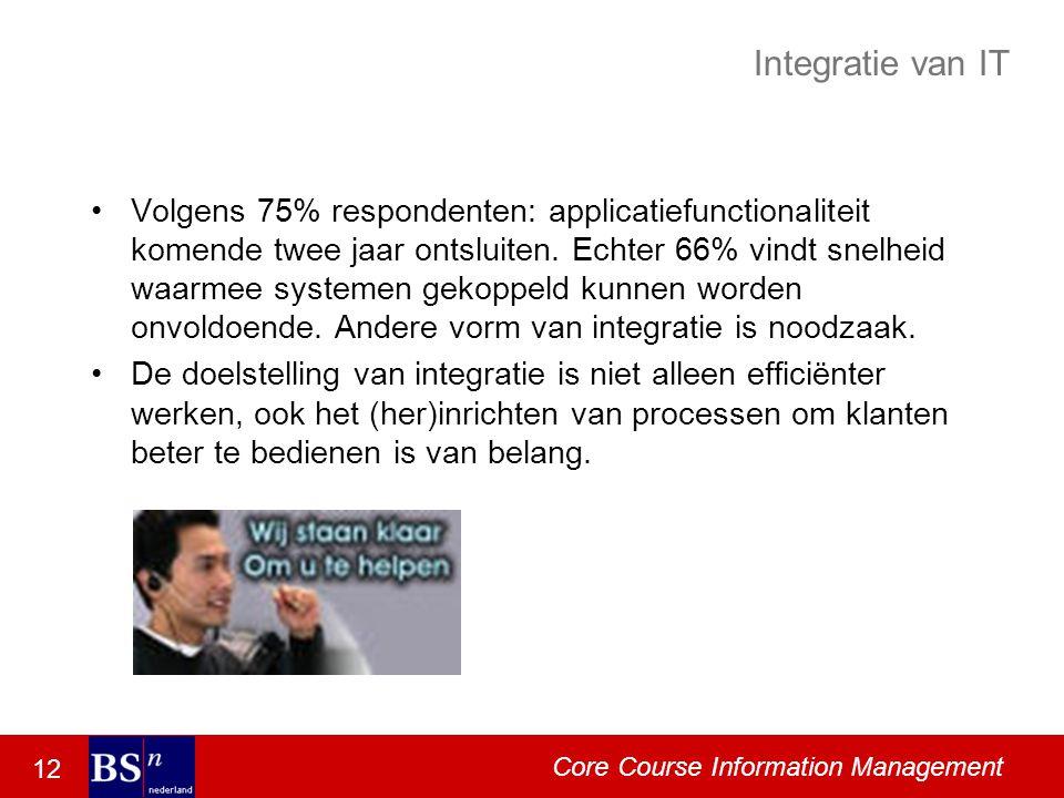 12 Core Course Information Management Integratie van IT Volgens 75% respondenten: applicatiefunctionaliteit komende twee jaar ontsluiten.