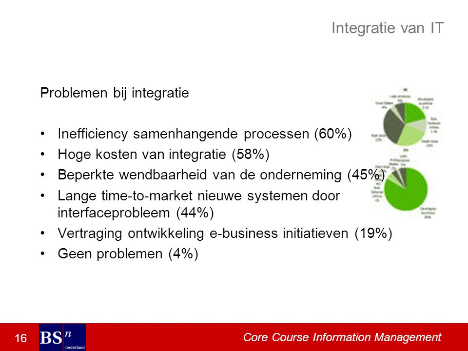 16 Core Course Information Management Integratie van IT Problemen bij integratie Inefficiency samenhangende processen (60%) Hoge kosten van integratie (58%) Beperkte wendbaarheid van de onderneming (45%) Lange time-to-market nieuwe systemen door interfaceprobleem (44%) Vertraging ontwikkeling e-business initiatieven (19%) Geen problemen (4%)