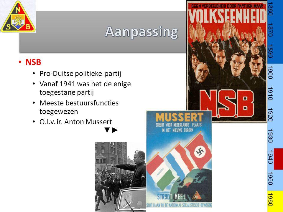 NSB Pro-Duitse politieke partij Vanaf 1941 was het de enige toegestane partij Meeste bestuursfuncties toegewezen O.l.v.