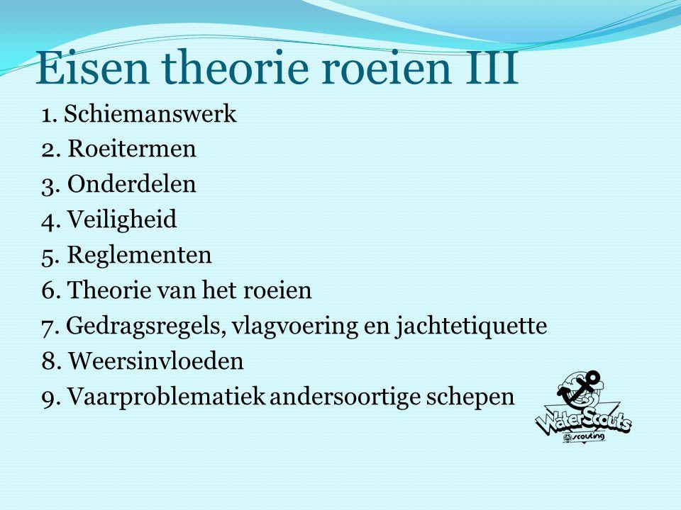 Eisen theorie roeien III 1. Schiemanswerk 2. Roeitermen 3.