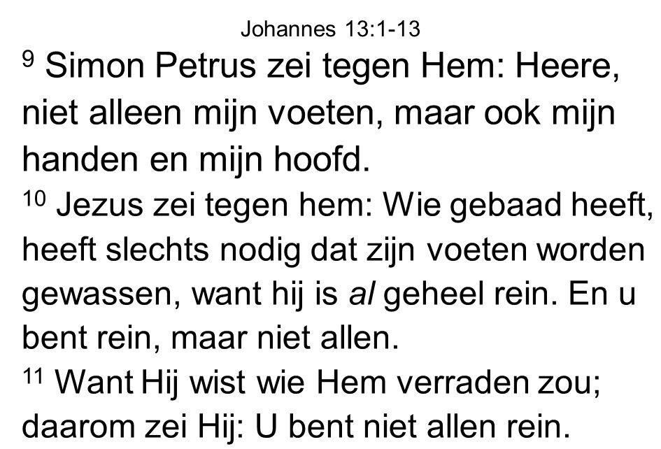 9 Simon Petrus zei tegen Hem: Heere, niet alleen mijn voeten, maar ook mijn handen en mijn hoofd. 10 Jezus zei tegen hem: Wie gebaad heeft, heeft slec