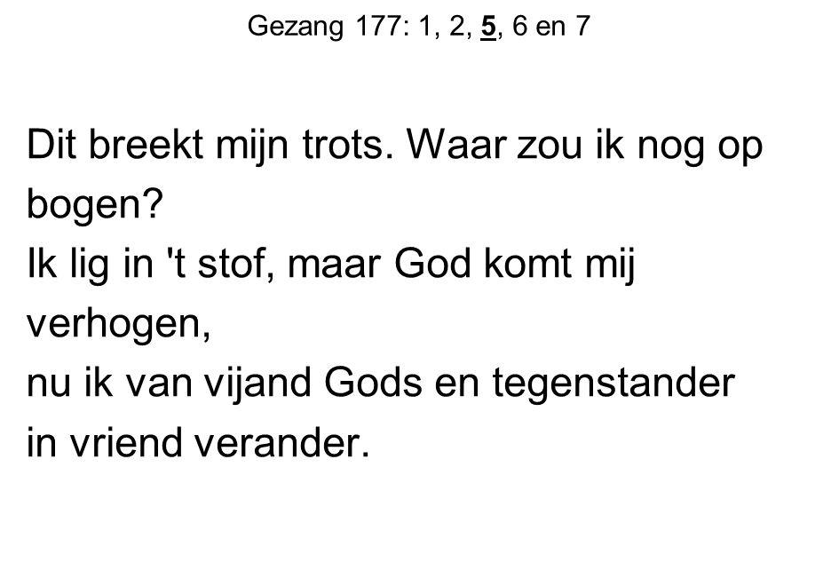 Gezang 177: 1, 2, 5, 6 en 7 Dit breekt mijn trots. Waar zou ik nog op bogen? Ik lig in 't stof, maar God komt mij verhogen, nu ik van vijand Gods en t