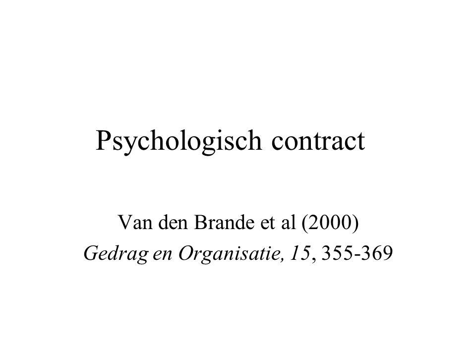 Psychologisch contract Van den Brande et al (2000) Gedrag en Organisatie, 15, 355-369