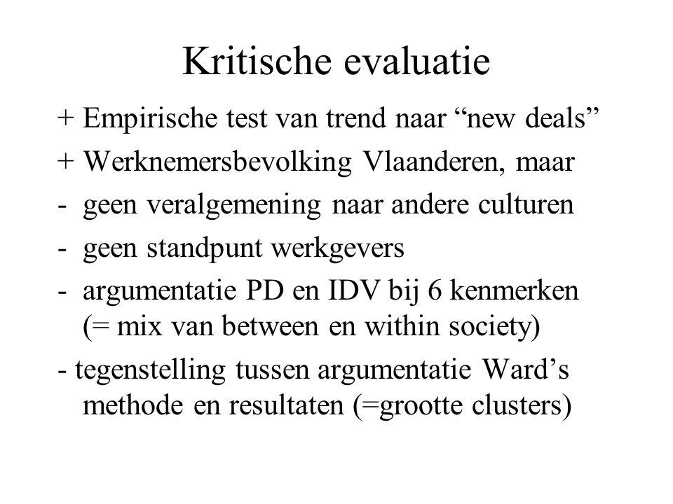 """Kritische evaluatie +Empirische test van trend naar """"new deals"""" +Werknemersbevolking Vlaanderen, maar -geen veralgemening naar andere culturen -geen s"""