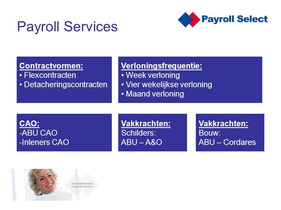 Er bestaan verschillende modellen en maatwerk oplossingen Uitgangspunten van deze modellen: – Kwaliteit – Zekerheid – Efficiënte processen – Kosten reductie Payroll modellen: