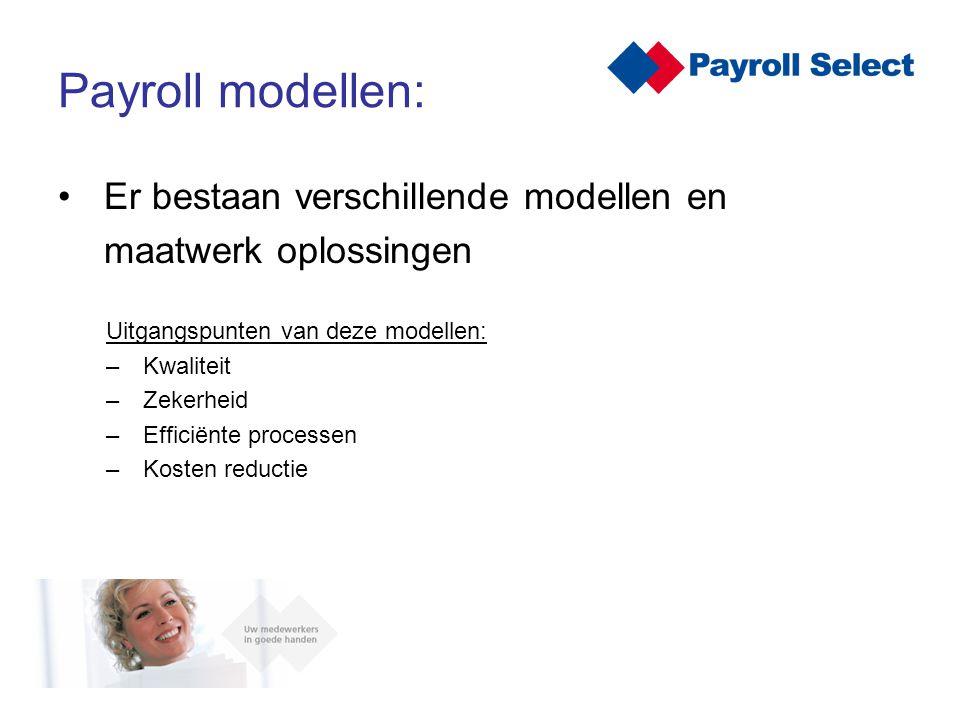 Er bestaan verschillende modellen en maatwerk oplossingen Uitgangspunten van deze modellen: – Kwaliteit – Zekerheid – Efficiënte processen – Kosten re
